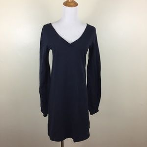 THEORY Dark Blue V Neck Soft Sweatshirt Dress